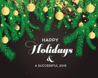Las banderas de la Navidad fijadas con las ramas del abeto con oro salpican imagen de archivo