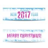 Las banderas de la Navidad y del Año Nuevo 2017 pican el texto y los copos de nieve Fotos de archivo libres de regalías