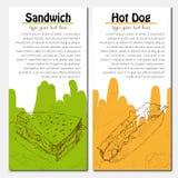 Las banderas de los alimentos de preparación rápida diseñan con el perrito caliente y Imágenes de archivo libres de regalías