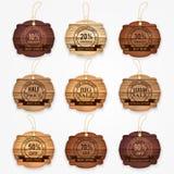 Las banderas de madera del descuento de la venta, etiquetas engomadas, etiquetan la colección Ilustración del vector Fotos de archivo