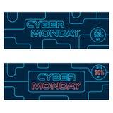 Las banderas de neón del web del estilo de la venta cibernética de lunes diseñan Fotos de archivo