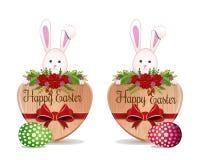 Las banderas de Pascua fijaron con los huevos de Pascua y un conejito de pascua lindo ilustración del vector