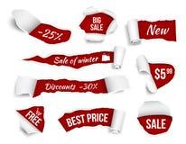 Las banderas del promo rasgaron el papel La publicidad de la venta marca imágenes realistas del vector con etiqueta de las página libre illustration