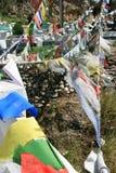 Las banderas del rezo fueron colgadas en el coutryside cerca de Timbu (Bhután) Foto de archivo libre de regalías