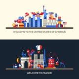 Las banderas del viaje de Francia, los E.E.U.U. fijaron con símbolos franceses famosos Imagen de archivo libre de regalías