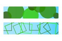 Las banderas ecológicas verdes fijaron con los elementos geométricos verdes Imagen de archivo libre de regalías