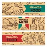 Las banderas fijaron con la imagen de diversas comidas mexicanas para el menú del restaurante Imagenes de archivo