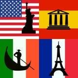Las banderas fijaron de América, de España, de Italia y de Francia con vistas libre illustration
