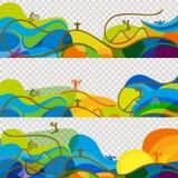 Las banderas fijaron el papel pintado de los Juegos Olímpicos 2016 Foto de archivo