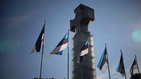 """Las banderas nacionales de Estonia contra la perspectiva de """"monumentde la libertad"""" en cuadrado de la libertad, se dedican a almacen de metraje de vídeo"""