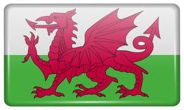 Las banderas País de Gales bajo la forma de imán en el refrigerador con reflexiones se encienden ilustración del vector