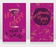 Las banderas para la noche de las señoras van de fiesta con los cócteles brillantes ilustración del vector