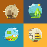 Las banderas planas de la ecología y de la contaminación fijaron con los iconos Imagen de archivo