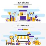 Las banderas planas del concepto de diseño - compre en línea y comercio electrónico ilustración del vector