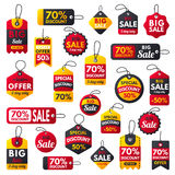 Las banderas rojas de la prima adicional estupenda de la venta mandan un SMS al ejemplo del vector de la oferta del descuento de  stock de ilustración