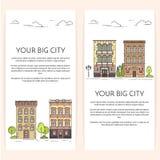 Las banderas verticales con la ciudad ajardinan la línea arte plana ilustración del vector