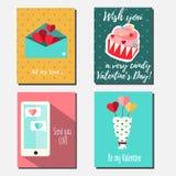 Las banderas verticales del vector del día del ` s de la tarjeta del día de San Valentín del St, tarjetas de felicitación, invita Imágenes de archivo libres de regalías