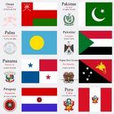 Las banderas y los capitales del mundo fijaron 18 Imagenes de archivo