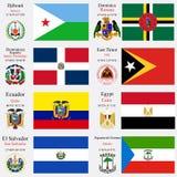 Las banderas y los capitales del mundo fijaron 7 Imágenes de archivo libres de regalías