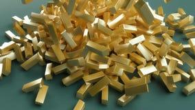 Las barras de oro caen en la tabla, dinero, 3d rinden ilustración del vector