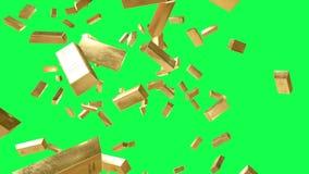 las barras de oro están cayendo Animación realista Cantidad verde de la pantalla ilustración del vector