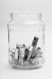 Las baterías usadas reciclan Imagen de archivo libre de regalías