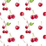 Las bayas de la cereza dan dibujan el modelo inconsútil de la tela de la acuarela libre illustration