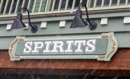 Las bebidas espirituosas firman adentro la nieve que cae Fotografía de archivo libre de regalías
