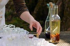 Las bebidas hechas en casa del alcohol se están sirviendo en turismo de la granja fotografía de archivo