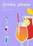 Las bebidas satisfacen el cartel con el vidrio de cóctel de la limonada Fotos de archivo libres de regalías