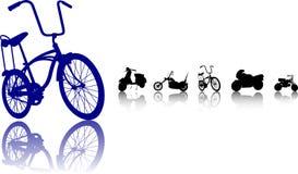 Las bicis siluetean el conjunto ilustración del vector