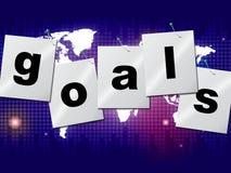 Las blancos de las metas indican objetivos y pronóstico de las aspiraciones Imagen de archivo libre de regalías