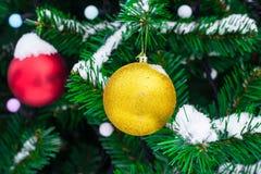 Las bolas amarillas y rojas de la Navidad en abeto ramifican en nieve Navidad Foto de archivo libre de regalías