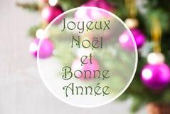 Las bolas borrosas, Rose Quartz, Bonne Annee significan Año Nuevo Fotografía de archivo