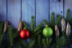 Las bolas coloreadas de la Navidad con el abeto ramifican en el bosque Fotos de archivo libres de regalías