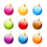 Las bolas coloridas de la Navidad fijaron aislado en el vector blanco del fondo Imágenes de archivo libres de regalías