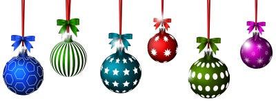 Las bolas de la Navidad con la cinta y los arcos para usted diseñan Foto de archivo