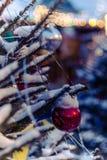 Las bolas de la Navidad cuelgan en el árbol de navidad, una decoración hermosa por el Año Nuevo Imágenes de archivo libres de regalías