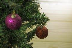 Las bolas de la Navidad están colgando en el árbol de navidad Fotos de archivo