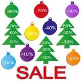Las bolas de la venta de la Navidad con los árboles de navidad (corte el papel) Vector Imagen de archivo