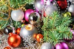 Las bolas de los Años Nuevos Imágenes de archivo libres de regalías