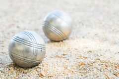 Las bolas de Petanque en el field imagen de archivo libre de regalías