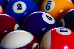 Las bolas de piscina se cierran Imagen de archivo libre de regalías