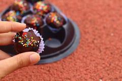 Las bolas del chocolate en la tierra Foto de archivo