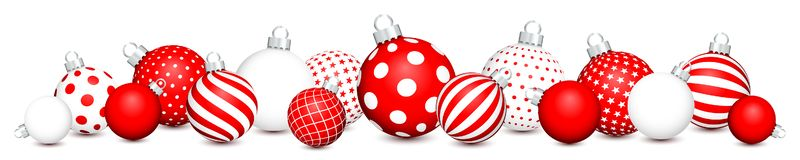 Las bolas horizontales de la Navidad de la bandera modelan rojo y blanco ilustración del vector