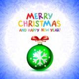 Las bolas verdes abstractas de la Navidad cutted del documento sobre fondo rojo Ejemplo 2016 del vector Imagen de archivo libre de regalías