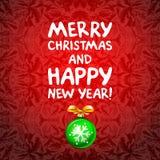 Las bolas verdes abstractas de la Navidad cutted del documento sobre fondo rojo Ejemplo 2016 del vector Foto de archivo
