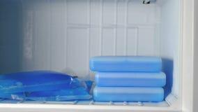 Las bolsas de hielo en el congelador almacen de video