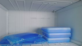 Las bolsas de hielo en el congelador almacen de metraje de vídeo