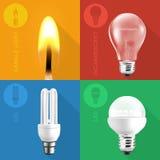 Las bombillas y la luz de la vela fijaron con los iconos en fondos planos del color del estilo Fotografía de archivo libre de regalías